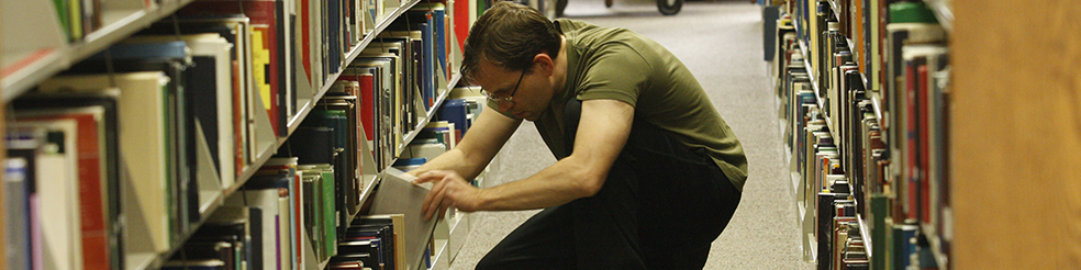 Student browsing books