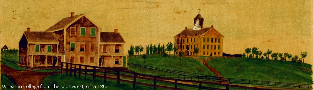 Painting of Wheaton College from the southwest, circa 1862